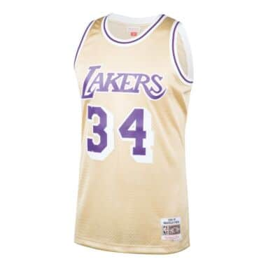 8287451d468f Shaquille O Neal Gold Swingman Jersey Los Angeles Lakers Mitchell ...